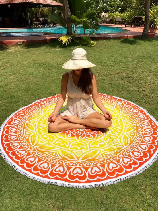 1 mandala towel yellow2